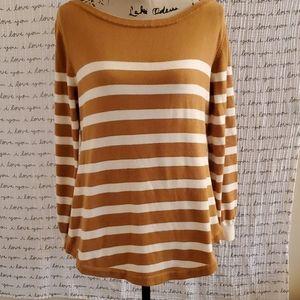 Medium Tan and white striped Boat Neck Sweater